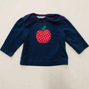 5/$25 Baby Boden Apple appliqué l/s top tee 0-3 M